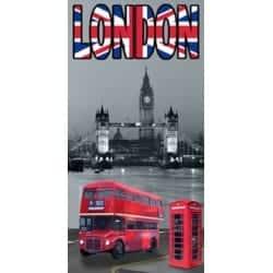DRAP DE PLAGE LONDRES BUS ANGLAIS 75x150cm