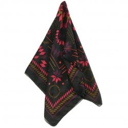 FOULARD CARRE DE SOIE CROSS BLACK 100x100cm
