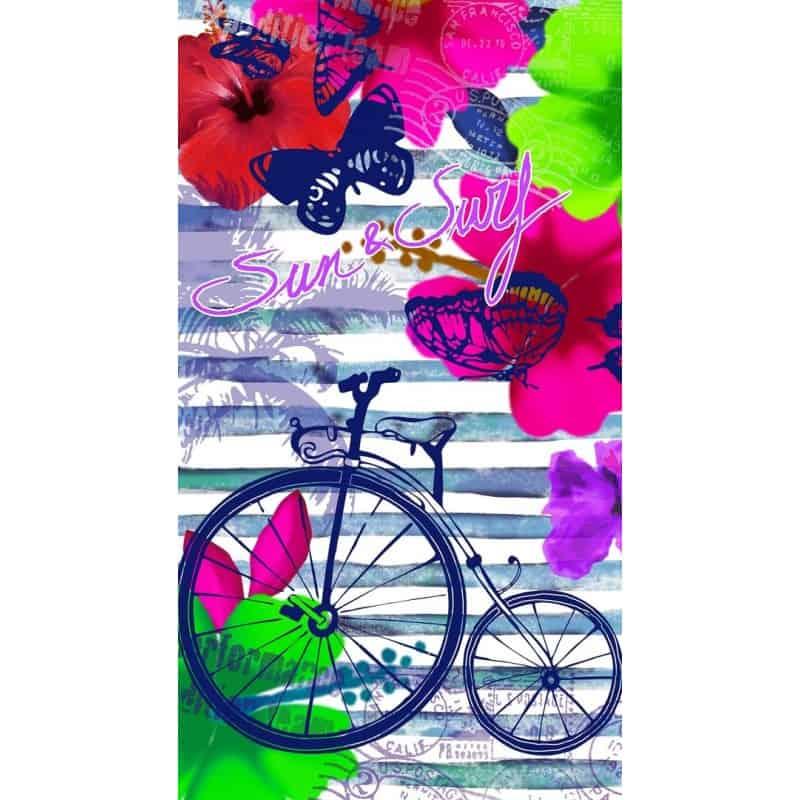 DRAP DE PLAGE BICYCLETTE BLEUE 95x175cm