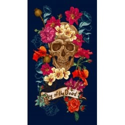 DRAP DE PLAGE TETE DE MORT FLEURIE 95x175cm