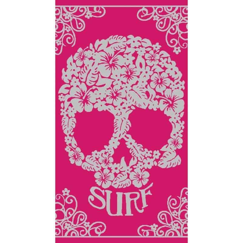DRAP DE PLAGE CRANE SURF JACQUARD ROSE 95x175cm