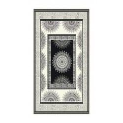 DRAP DE PLAGE MANDALA NOIR BLANC JACQUARD 95x175cm